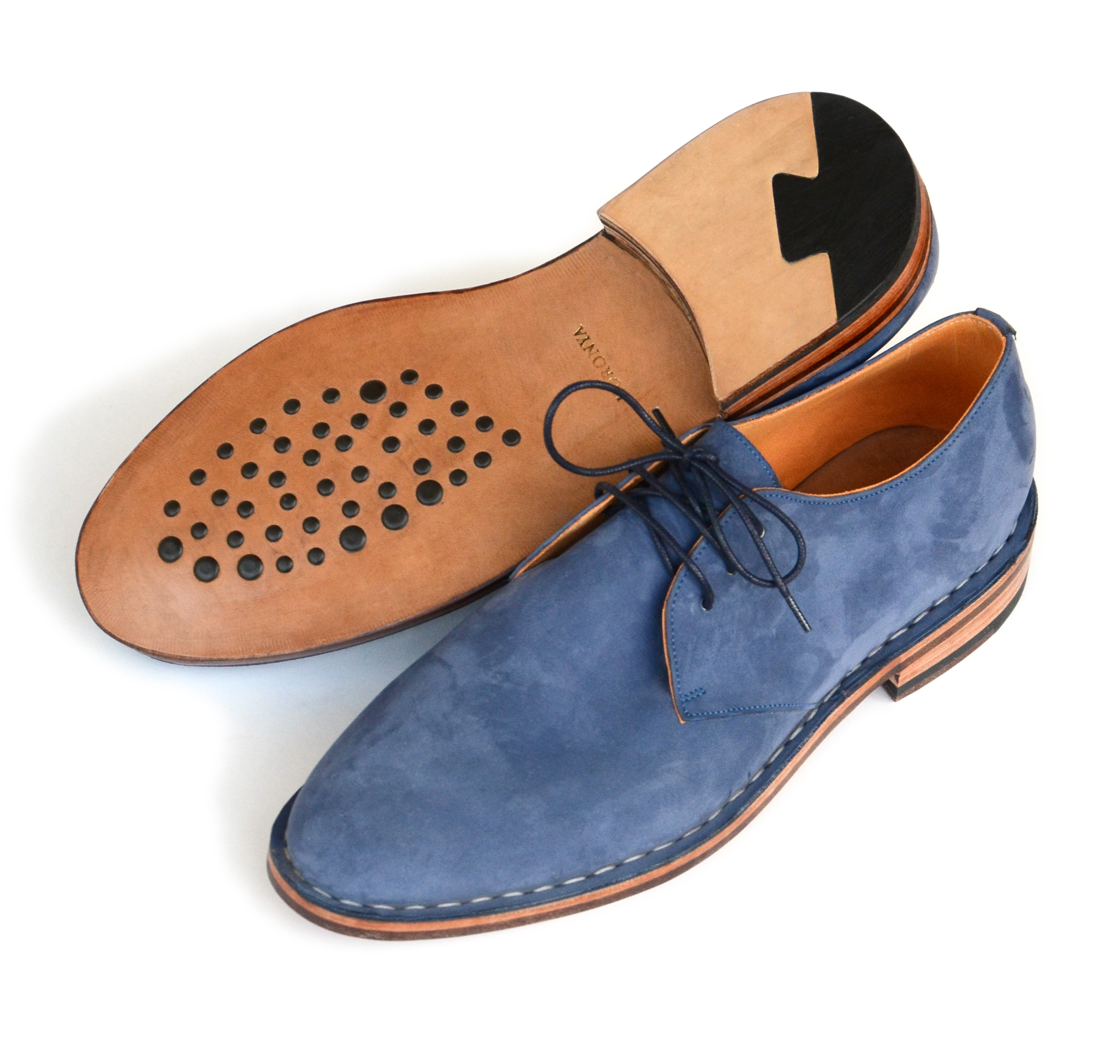 Shoes Before 1800 Blue Nubuck Derby