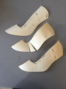Course example of different pattern-making techniques for high-heels